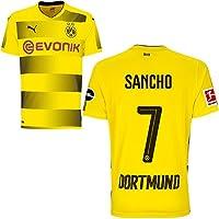 Puma BVB Borussia Dortmund Home Trikot 2017 2018 Herren Kinder mit Spieler Sponsor Logo Farbe Sancho, Größe XL