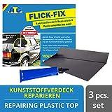 Kit de réparation de bâches de piscine plastique ATG Flick Fix, noir : réparation des fissures, des coupures et des trous pour les bâches de convertibles, bâches en plastique - L'adhésif peut également être utilisé sous l'eau (par exemple bâches de piscine en PVC souple)