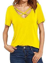 b47e3502eeebed Damen V-Ausschnitt T-Shir Sommer Kurzarmt mit Schnürung Vorne Oberteil  Bluse Shirt
