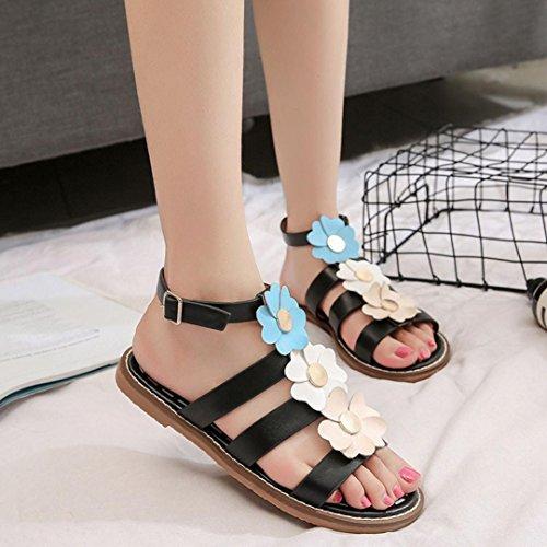 BZLine® Damen Sommer Sandalen Schuhe Peep-Toe Römische Schuhe Flip Flops Sandalen Schwarz