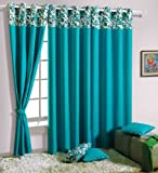 Swayam Solid Eyelit Door Curtain - Turqu...