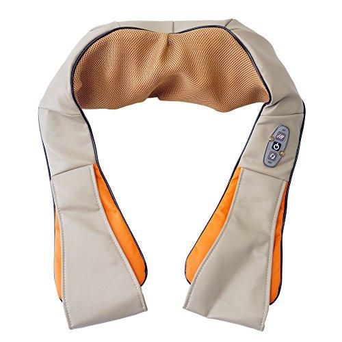 Spagro Kneten Shiatsu Infrarot-Wärmetherapie Nackenmassagegerät Massagegerät Massager für nackenschultern Hals Schulter Arme Zurück Schmerzlinderung für Haus Büro mit Autoadapter