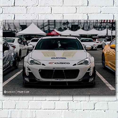 QAZEDC Dekorative Malerei Super Auto Vorderansicht Tuning Fahrzeug Poster und Drucke Wandkunst Leinwand Gemälde für Wohnzimmer Dekor 60x80cm