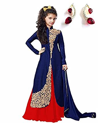 Flotit Baby Girl's Blue Cotton Semi-Stitched Anarkali Suits with free earings