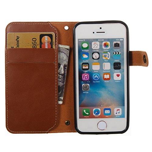 Étui en cuir pour iPhone 5s, Lifetrut [Machines à sous en carte] Étui de Portefeuille en Cuir élégant Flip Folio en cuir avec Boucle Latérale et Doublure pour iPhone 5s [Rouge] E201-Marron