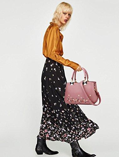NICOLE&DORIS Donne Fiori Superiore Handle Handbags Borsa a tracollaBorsa Crossbody Totalizzatore Le signore cartella PU Pelle Foglia Nera Fiore Rosa