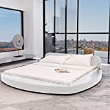 SHENGFENG Bettgestell Doppelbett 180 x 200 cm Rund Bett Kunstlederbett Polsterbett Weiß