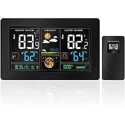Estación meteorológica, Protmex PT3378 Estación Meteorológica Inalámbrica con alerta y temperatura / humedad / Barómetro / Alarma / Fase lunar / Reloj atómico y carga USB con sensor exterior Negro