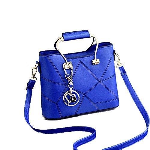 LDMB Damen-handtaschen JQAM süße Dame PU-lederner Schulter-Kurier-Handtaschen-Querschnitt geprägte Einkaufstasche days blue