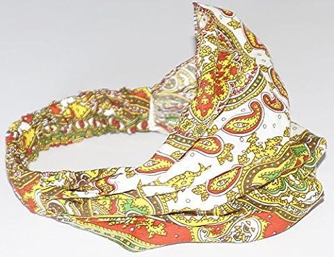 Ladies elastic back bandana headwrap cravet (retro gypsy style paisley design).Red base multi colour.