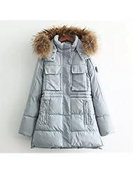 ZQQ Damas abrigo de lazo delgado para collar de otoño/invierno acolchado capa tamaño grueso pelaje delgado abrigo largo manga cremallera con capucha chaqueta caliente , blue , xl