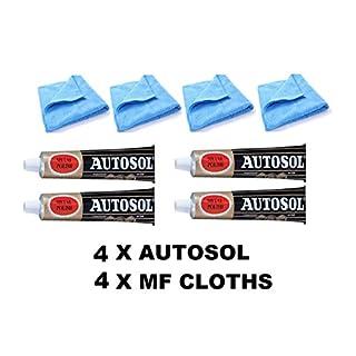4 x 75ml Tube Solvol Autosol And 4 Microfibre Cloths - Chrome Ali & Metal Polish