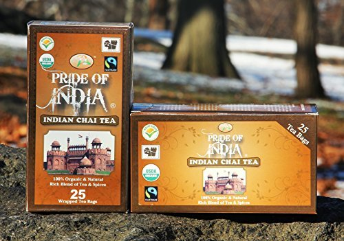 Pride Of India - Organic Indian Chai Tea, 25 Count (2-pack)