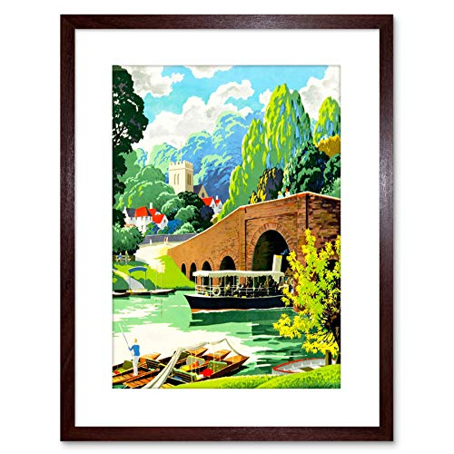 9x7 '' Village Scene River Thames Boat Church Scenic Framed Art Print F97X695 -