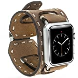 Burkley Apple Watch 1/2/3 Lederarmband Uhrenarmband in Breiter Ausführung mit Dornverschluss inkl. 42 mm Connector in Dunkel Braun