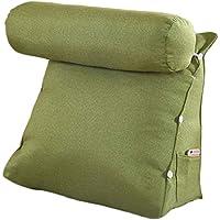 Vercart–cojín de lectura Triangular polochon ajustable de sofá cama Wedge pillow bodega cuello apoyo dos (lino, desenfundable, lino, verde, 60x50x22cm