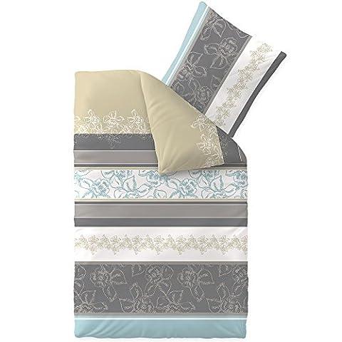 Bettwäsche 155x220 Baumwolle, Trend Vanesa Blumen Streifen beige grau anthrazit aqua-textil