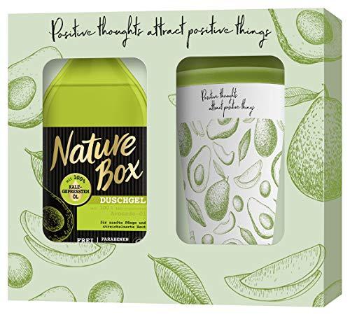 Nature Box Nature Box Geschenkset Avocado Duschgel 385ml mit Bambus Kaffee-Becher, 385 ml