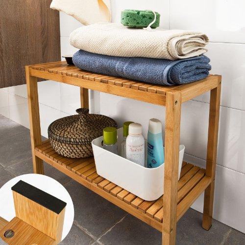 Badezimmerregal, Badezimmerschrank, Bambusregal, Badregal,Handtuchhalter FSR14