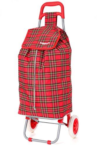 Hoppa 47L Einkaufstrolley Einkaufsroller Einkaufswagen (Schottenkaro Rot)