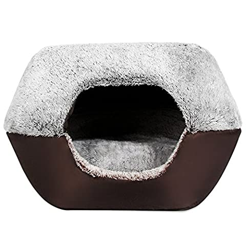 YOOYOO Soft Washable Pet Dog Cat Bed Ger House Nest with Removable Cushion (LIGHT GRAY)