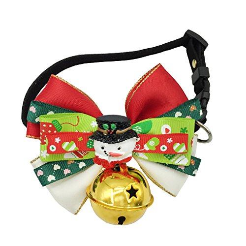 Weihnachten Halsband Wunderschön Geschenk für Hunde Katzen Haustier - Verstellbare Weihnachtsbogen Hundefliege Krawatte Halskragen Halskette Eingebaute Schnalle-Schneemann (Kostüm Schneemann Hund)