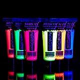 Pintura Corporal y Facial 10ml UV GLOW Conjunto De 6 Tubos Neón Fluorescente incandescente
