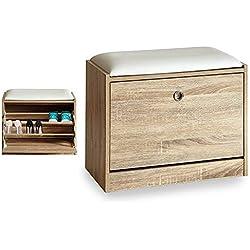 Takestop® Zapatero de entrada con asiento acolchada Puf cojín madera blanco 30x 60x 48cm Baúl Caja Banco zapatero puerta Zapatos Diseño Moderno Minimal