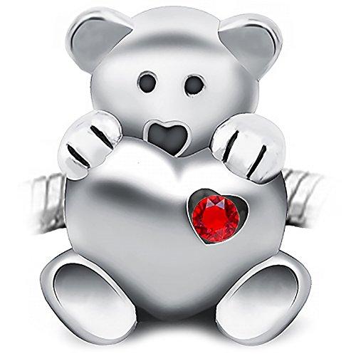 Sparkly-Jewels Charm-BeadTeddy Bär hält EIN Herz, 925Sterling Silber,für Pandora, Biagi, Troll etc (Teddys Bären)