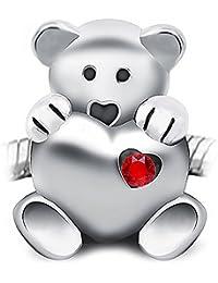 Sparkly-Jewels Teddybär hält EIN Herz–925Sterling Silber–passt Pandora, Biagi und Troll