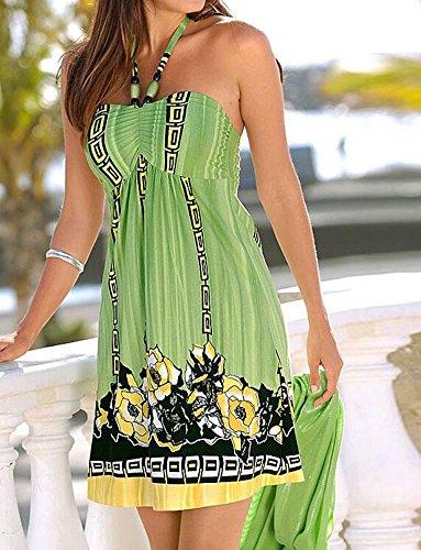 FEITONG Femmes Boho Imprimé Floral Manches Sexy Soirée Robe de plage Mini Robe Courte Vert