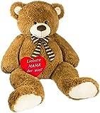Brubaker Riesiger XXL Teddybär 150 cm groß Braun mit Einem 'Liebste Mama der Welt' Plüschherz