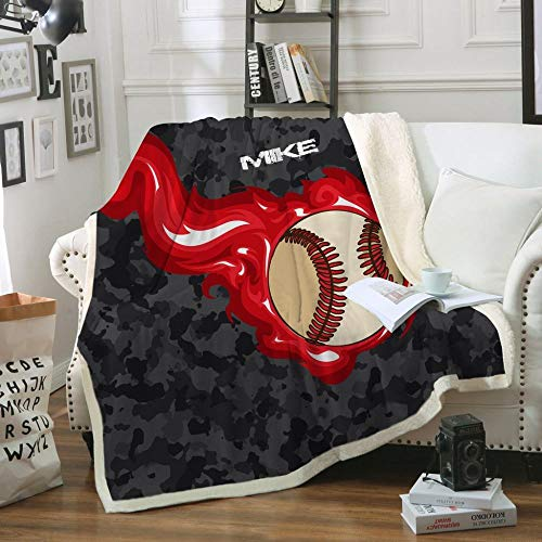 Decken,Bettwäsche Einzigartige Flamme Baseball 3D-Digitaldruck Sherpa Throw Blanket - Warme Doppelbett Wirft Decke,Für Schlafsofa Winter Blatt Flauschigen Bettdecken,150 × 200Cm/60X80 Zoll
