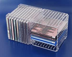 cd acryl box 18 f r 18 einzel cds oder 8 doppel cd amazon. Black Bedroom Furniture Sets. Home Design Ideas