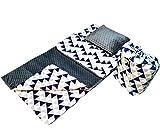 BabyBoom Schlafsack für Kleinkinder, Kindergarten, Zuhause, Bettwäsche für Kinderbett - MINKY + 100% Baumwolle -Gr. 75x140 cm + Kissen 40x35 cm inkl. Tasche, made in EU (Dreieck - Minky grau)