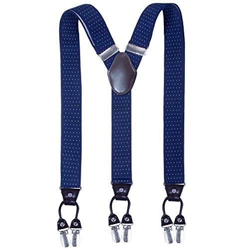Kajeer Herren Hosenträger Breit 35mm - 6 Clips mit Leder in Y Form Hosenträger in verschiedenen Designs (Navy Blue Polka Dot) - Polka Dot Hosenträger