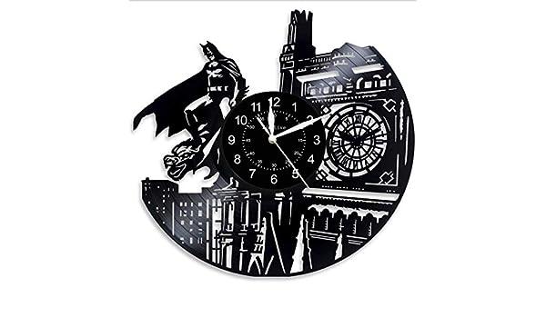MUMUSO Salon D/écoration De Mode Cr/éatif Personnalis/é Batman Disque Vinyle Horloge Murale Horloge R/étro