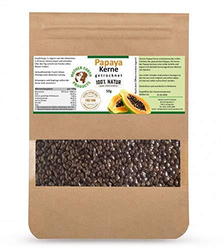 Papaya-Kerne- Natürlich Schonend getrocknet | Papaya-Pfeffer ohne Zusatzstoffe|Gluten- und Laktosefreie Papaya-Samen|Papain |Milde Schärfe im Geschmack - 50g (Papaya Samen-enzym)