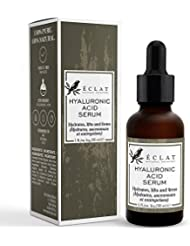 Hyaluronic Acid Serum by Eclat - 100% Pure Hyaluronic Acid Moisturizer and Anti Ageing Serum for Erasing Fine Lines and Wrinkles Soft Hydrating Easy Absorption Anti Aging Serum Face Formula Eye Serum