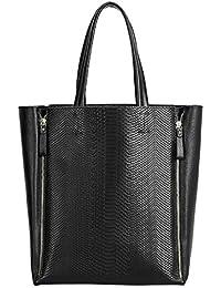 Dissa Q0305,femme noir véritable de modèle de sac à main en cuir 43x35x15 cm (B x H x T)