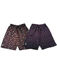 Bumchums Mercerised Maroon Printed Shorts (Set of 2)