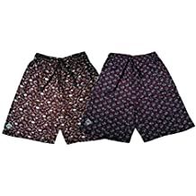Bumchums Mercerised Maroon Printed Shorts (Set of 2)