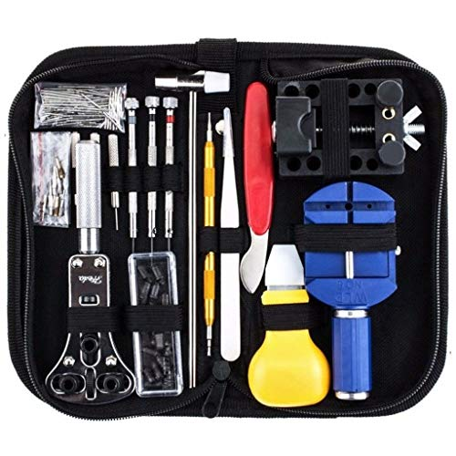 FiedFikt 147-teiliges Uhrenreparatur-Werkzeug-Set für Gehäuse-Öffner, Federsteg-Entferner, Uhrmacher-Werkzeug, Uhrenreparatur-Werkzeug -