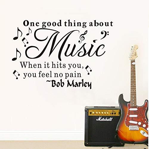 Eine gute sache über musik bob marley vinyl zitat wandtattoo wohnkultur diy tapete entfernbare wandaufkleber 58 * 84 cm (Bobs Möbel Kommoden)