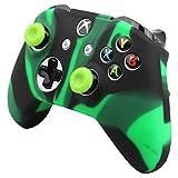 Pandaren® Silikon Hülle Anti-Rutsch NUR für Xbox One S, Xbox One X controller x 1 (Schwarz Grün) + thumb grips aufsätze x 2
