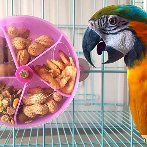 quanjucheer Vogelfutterbox für Papageienkäfig, drehbar, rund, Kunststoff