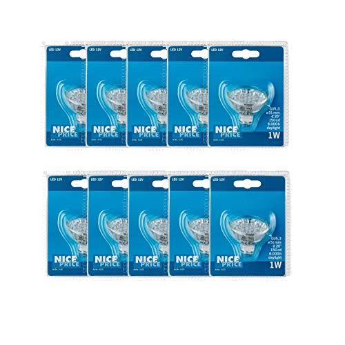 Np-led (10er Pack Nice Price 12V 4100.10 NP LED Reflektor 24° 1W GU5,3 Fassung 12V 51mm Tageslichtweiß)
