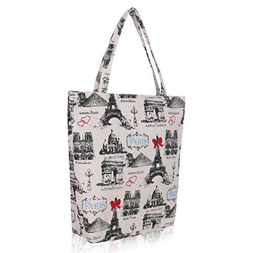 cheeroyal Cartoon borsa pieghevole borsa a tracolla borsa della spesa riutilizzabile 5921 Paris