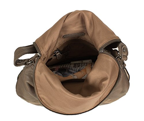 FREDsBRUDER Glückskeks sac en bandoulière en cuir mou ciré velours-(33x27cm) Marron (Taupe)