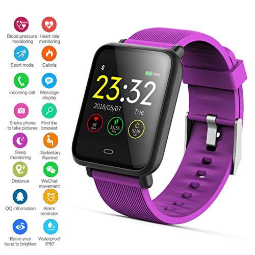 EJOLG IP67 Wasserdichte Smartwatch Unisex,mit Fitness trackers Pulsmesser Kalorienzähler schrittzähler usw.Unterstützt Mehrere Sprache,Damen und Herren Fitness Armband Uhr,Purple